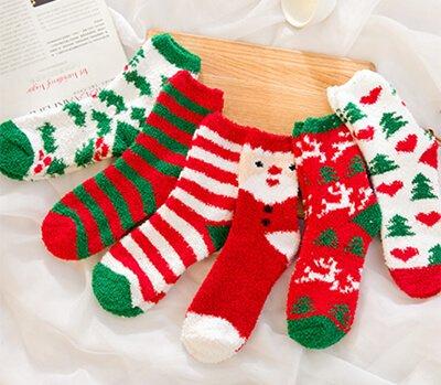 Custom Christmas fuzzy socks for family