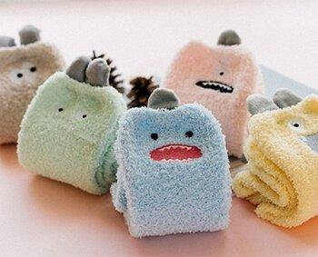 Custom girls women quarter fuzzy socks