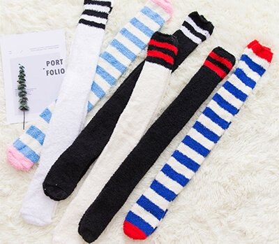 Custom long tube fuzzy socks