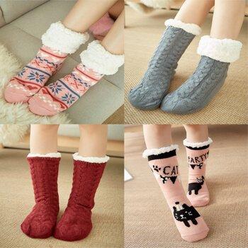 Custom men,women kids indoor warm shoe socks